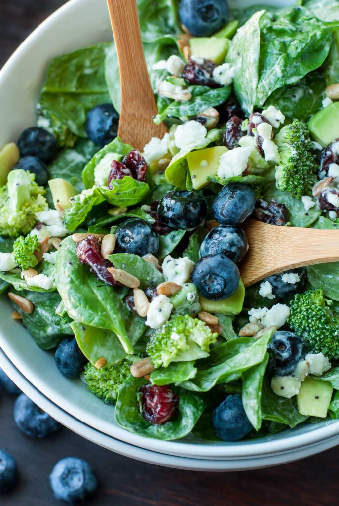 Main Dish Salads : Blueberry Broccoli Spinach Salad :: from Peas & Crayons