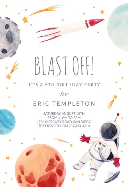 Space Themed Birthday Party | britstrawbridge.com | FREE TEMPLATE * The most perfect outer space invitations from GreetingsIsland.com! Send your guests these awesome space-themed invites.